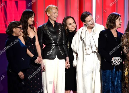 "Avy Kaufman, Dakota Johnson, Tilda Swinton, Jessica Harper, Gala Moody, Angela Winkler accept the Robert Altman award for ""Suspiria"" at the 34th Film Independent Spirit Awards, in Santa Monica, Calif"