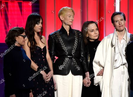 "Avy Kaufman, Dakota Johnson, Tilda Swinton, Jessica Harper, Gala Moody. Avy Kaufman, Dakota Johnson, Tilda Swinton, Jessica Harper and Gala Moody accept the Robert Altman award for ""Suspiria"" at the 34th Film Independent Spirit Awards, in Santa Monica, Calif"