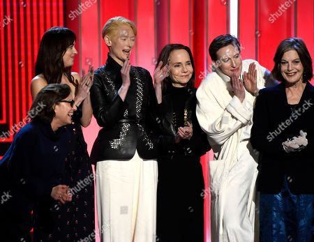 "Avy Kaufman, Dakota Johnson, Tilda Swinton, Jessica Harper, Gala Moody, Angela Winkler. Avy Kaufman, Dakota Johnson, Tilda Swinton, Jessica Harper, Gala Moody and Angela Winkler accept the Robert Altman award for ""Suspiria"" at the 34th Film Independent Spirit Awards, in Santa Monica, Calif"