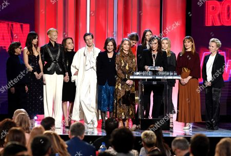 "Gala Moody, Malgorzata Bela, Renee Soutendijk, Stella Savino, Tilda Swinton, Angela Winkler, Chloe Grace Moretz, Fabrizia Sacchi, Elena Fokina, Avy Kaufman, Jessica Harper. Avy Kaufman, from left, Dakota Johnson, Tilda Swinton, Jessica Harper, Gala Moody, Angela Winkle, Elena Fokina, Malgorzata Bela, Stella Savino, Chloe Grace Moretz, Fabrizia Sacchi, and Renee Soutendijk accept the Robert Altman award for ""Suspiria"" at the 34th Film Independent Spirit Awards, in Santa Monica, Calif"