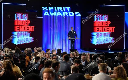 Stock Image of Josh Welsh speaks at the 34th Film Independent Spirit Awards, in Santa Monica, Calif