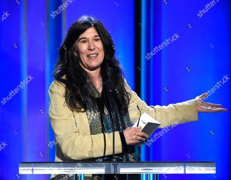 Debra Granik accepts the Bonnie award at the 34th Film Independent Spirit Awards, in Santa Monica, Calif