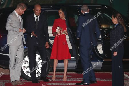 Prince Harry and Meghan Duchess of Sussex, meet Crown Prince Moulay Hassan at a Royal Residence in Rabat