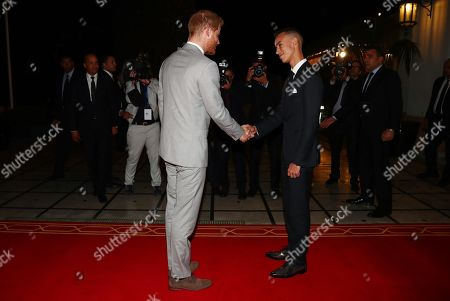 Prince Harry meets Crown Prince Moulay Hassan at a Royal Residence in Rabat