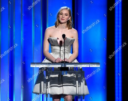 """Stock Image of Ekaterina Samsonov presents a scene from """"You Were Never Really Here"""" onstage at the 34th Film Independent Spirit Awards, in Santa Monica, Calif"""