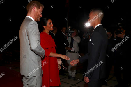 Britain's Prince Harry and Meghan, Duchess of Sussex, meet Crown Prince Moulay Hassan at a Royal Residence in Rabat, Morocco, 23 February 2019. The British royal couple are on an official visit to the country from 23 to 25 February.