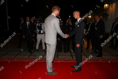 Britain's Prince Harry meets Crown Prince Moulay Hassan at a Royal Residence in Rabat, Morocco, 23 February 2019. The British royal couple are on an official visit to the country from 23 to 25 February.