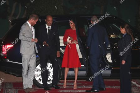 Britain's Prince Harry and Meghan, Duchess of Sussex, arrive to meet Crown Prince Moulay Hassan at a Royal Residence in Rabat, Morocco, 23 February 2019. The British royal couple are on an official visit to the country from 23 to 25 February.