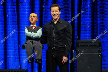 Stock Photo of Jeff Dunham and Walter perform on the Passively Aggressive Tour at the Frank Erwin Center on February 15, 2019 in Austin, Texas.