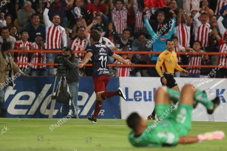 5b085212883 Isaac Brizuela of Chivas celebrates after scoring during a soccer game of  the Clausura 2019 tournament