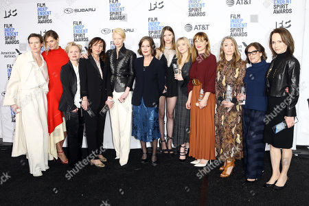 Cast and crew members of 'Suspiria' pose in the press room for the 2019 Independent Spirit Awards in Santa Monica, California, USA, 23 February 2019. Suspiria was awarded with the Robert Altman Award and Sayombhu Mukdeeprom with Best Cinematography. The award ceremony, organized by the non-profit organization Film Independent, honors the finest independent films of the preceding year.