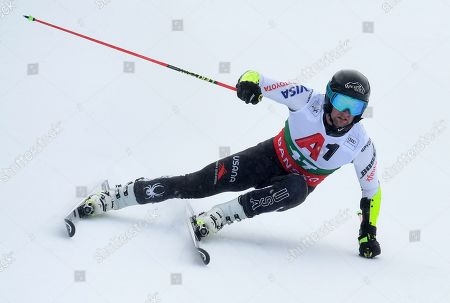 Stock Image of Nicholas Krause of USA in action during the first run of the Men's Giant slalom race at the Alpine Skiing World Cup in Bansko, Bulgaria, 24 February 2019.