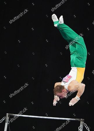 Mitchell Morgans of Australia competes in the men's high bar event during the 2019 World Cup Gymnastics finals at Melbourne Arena in Melbourne, Victoria, Australia, 24 February 2019.