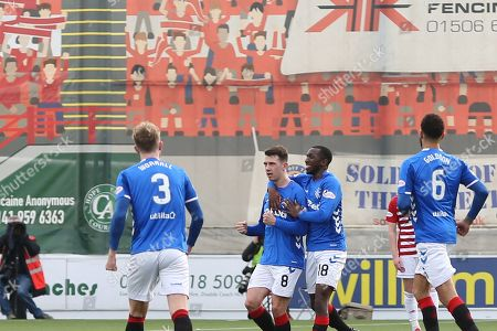 GOAL Rangers midfielder Ryan Jack (8) scores to make it 0-1 and celebratesduring the Ladbrokes Scottish Premiership match between Hamilton Academical FC and Rangers at New Douglas Park, Hamilton