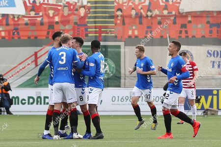 GOAL Rangers midfielder Ryan Jack (8) scores to make it 0-1 and celebrates during the Ladbrokes Scottish Premiership match between Hamilton Academical FC and Rangers at New Douglas Park, Hamilton