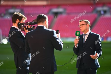 Stock Picture of Paul Dickov talks to the media ahead of the Carabao Cup Final