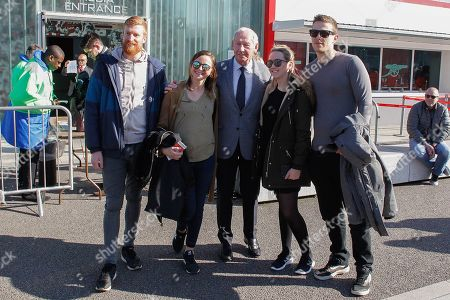 Arsenal goalkeeping legend Bob Wilson having his photo taken with some fans outside the Emirates Stadium, before the Premier League match between Arsenal and Southampton at the Emirates Stadium, London