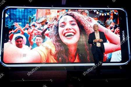 Stock Picture of Florian Seiche, Chief Executive Officer of HMD Global presents new Nokia mobiles at the Mobile World Congress 2019 (MWC19), in Barcelona, Spain, 24 February 2019. The latest development in mobile technologies are presented at the MWC19 from 25 to 28 February.