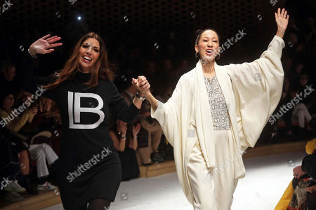 Lavinia Biagiotti (L) with US model Pat Cleveland (R) after presentation of Laura Biagiotti's collection during the Milan Fashion Week, in Milan, Italy, 24 February 2019. The Fall-Winter 2019/20 Women's collections are presented at the Milano Moda Donna from 20 to 25 February 2019.