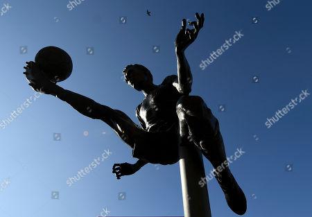 The Dennis Bergkamp statue outside of the Emirates Stadium