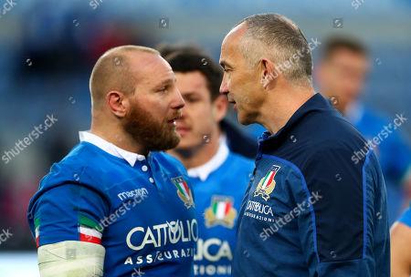 Italy vs Ireland. Italy's Leonardo Ghiraldini with Head Coach Conor O'Shea after the game