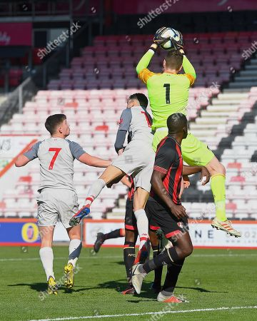 Stock Picture of Mark Travers of AFC Bournemouth catches a cross ahead of Isaac Christie-Davies  and Ben Woodburn of Liverpool during AFC Bournemouth Under-21 vs Liverpool Under-21, Premier League Cup Football at the Vitality Stadium on 24th February 2019