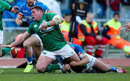 Italy vs Ireland. Ireland's Tadhg Furlong with Leonardo Ghiraldini of Italy