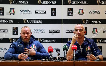 Italy vs Ireland. Italy's Leonardo Ghiraldini with Head Coach Conor O'Shea during the post match press conference