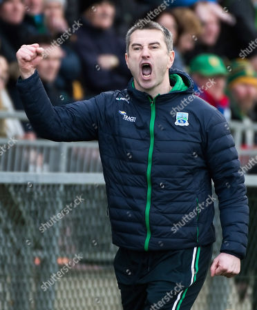 Donegal vs Fermanagh. Fermanagh manager Rory Gallagher celebrates the full time whistle