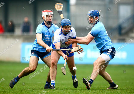 Dublin vs Waterford. Waterford's Michael Walsh is tackled by Dublin's Paddy Smyth and Sean Moran