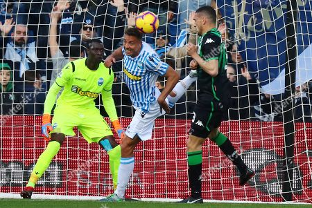 Sassuolo's Merih Demiral (R) and Spal's Thiago Cionek (C) in action during the Italian Serie A soccer match US Sassuolo vs Spal 2013 at Mapei Stadium in Reggio Emilia, Italy, 24 February 2019.