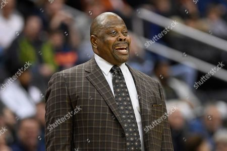 Georgetown head coach Patrick Ewing reacts during the first half of an NCAA college basketball game against Villanova, in Washington