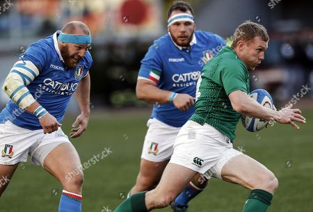 Ireland's Keith Earls (R) in action against Italy's captain Leonardo Ghiraldini (L) and Andrea Lovotti (C) during the Six Nations rugby match between Italy and Ireland at the Olimpico stadium in Rome, Italy, 24 February 2019.