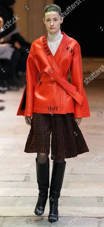 A model presents a creation by Cristiano Burani during the Milan Fashion Week, in Milan, Italy, 24 February 2019. The Fall-Winter 2019/20 Women's collections are presented at the Milano Moda Donna from 20 to 25 February 2019.