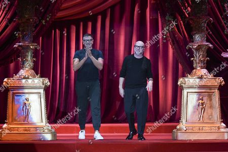 Stock Picture of Domenico Dolce and Stefano Gabbana on the catwalk