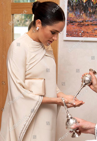 Meghan Duchess of Sussex attends a Reception hosted by Thomas Reilly the British Ambassador to Morocco at the British Residence, Rabat.