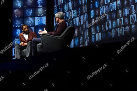 Stock Image of Chiwetel Ejiofor in conversation with Jason Solomons at the 'A Life in Pictures with Chiwetel Ejiofor ' event held at BAFTA's 195 Piccadilly headquarters