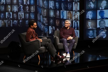 Stock Photo of Chiwetel Ejiofor in conversation with Jason Solomons at the 'A Life in Pictures with Chiwetel Ejiofor ' event held at BAFTA's 195 Piccadilly headquarters