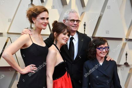 Emily Deschanel, Zooey Deschanel, Caleb Deschanel?, ?Mary Jo Deschanel. Emily Deschanel, from left, Zooey Deschanel, Caleb Deschanel?, and ?Mary Jo Deschanel arrive at the Oscars, at the Dolby Theatre in Los Angeles