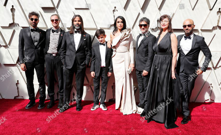 Nadine Labaki (4R) Khaled Mouzanar (3L) and members of the cast of 'Capernaum' arrive for the 91st annual Academy Awards ceremony at the Dolby Theatre in Hollywood, California, USA, 24 February 2019. The Oscars are presented for outstanding individual or collective efforts in 24 categories in filmmaking.