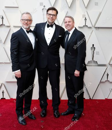 Best Animated Feature Film nominees Phil Johnston (C), Rich Moore (L), and Clark Spencer (R) arrive for the 91st annual Academy Awards ceremony at the Dolby Theatre in Hollywood, California, USA, 24 February 2019. The Oscars are presented for outstanding individual or collective efforts in 24 categories in filmmaking.