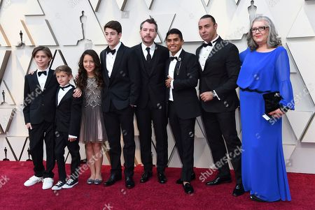 """Stock Image of Carlos Peralta, Marco Graf, Daniela Demesa, Diego Cortina Autrey, Fernando Grediaga, Jorge Antonio Guerrero, Latin Lover, Veronica Garcia. Carlos Peralta, from left, Marco Graf, Daniela Demesa, Diego Cortina Autrey, Fernando Grediaga, Jorge Antonio Guerrero, Latin Lover and Veronica Garcia, from the cast of """"Roma,"""" arrive at the Oscars, at the Dolby Theatre in Los Angeles"""