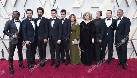 Stock Picture of Shameik Moore, Jake Johnson, Bob Persichetti, Christopher Miller, Phil Lord, Christina Steinberg, Amy Pascal, Avi Arad, Rodney Rothman, Peter Ramsey. Shameik Moore, from left, Jake Johnson, Bob Persichetti, Christopher Miller, Phil Lord, Christina Steinberg, Amy Pascal, Avi Arad, Rodney Rothman and Peter Ramsey arrive at the Oscars, at the Dolby Theatre in Los Angeles
