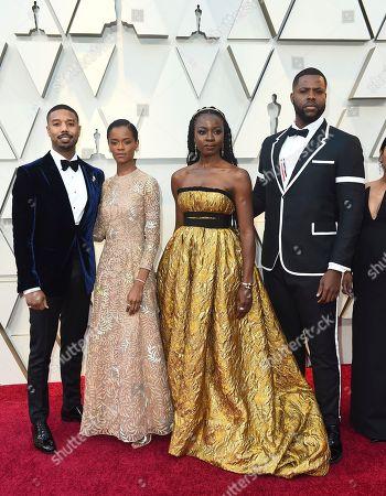 Michael B. Jordan, Letitia Wright, Danai Guriraz, Winston Duke. Michael B. Jordan, from left, Letitia Wright, Danai Guriraz, and Winston Duke arrive at the Oscars, at the Dolby Theatre in Los Angeles