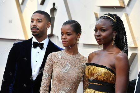 Michael B. Jordan, Letitia Wright, Danai Guriraz. Michael B. Jordan, from left, Letitia Wright, and Danai Guriraz arrive at the Oscars, at the Dolby Theatre in Los Angeles