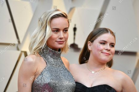 Brie Larson, Jessie Ennis. Brie Larson, left, and Jessie Ennis arrive at the Oscars, at the Dolby Theatre in Los Angeles