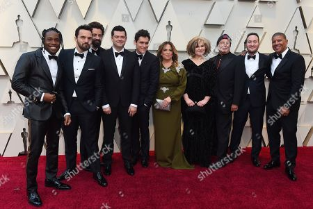 Shameik Moore, Jake Johnson, Bob Persichetti, Christopher Miller, Phil Lord, Christina Steinberg, Amy Pascal, Avi Arad, Rodney Rothman, Peter Ramsey. Shameik Moore, from left, Jake Johnson, Bob Persichetti, Christopher Miller, Phil Lord, Christina Steinberg, Amy Pascal, Avi Arad, Rodney Rothman and Peter Ramsey arrive at the Oscars, at the Dolby Theatre in Los Angeles