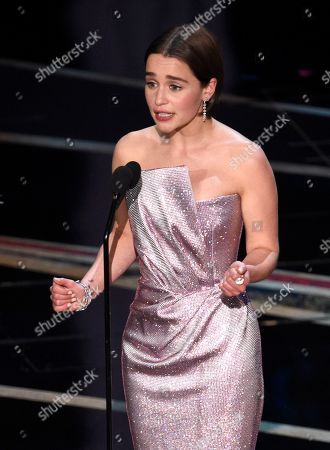 Emilia Clark introduces a performance by Jennifer Hudson at the Oscars, at the Dolby Theatre in Los Angeles