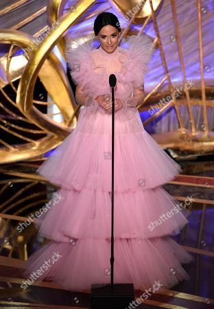 Kacey Musgrave introduces a performance by David Rawlings and Gillian Welch at the Oscars, at the Dolby Theatre in Los Angeles