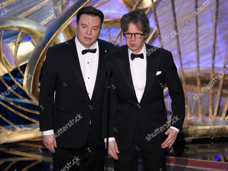 """Mike Myers, Dana Carvey. Mike Myers, left, and Dana Carvey introduce """"Bohemian Rhapsody"""" at the Oscars, at the Dolby Theatre in Los Angeles"""